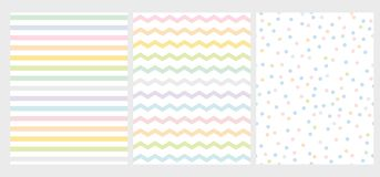 Set of 3 Abstract Multicolor Geometric Vector Pattern. Rainbow Color Art with Lines, Zigzag and Dots. Bright Colorful Chevron and Dots on a White Background stock illustration