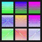 Set of abstract multicolored backgrounds of halftone lines. Bright fashion design backdrops. Royalty Free Stock Photography