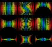 Set abstract multicolored graphic equalizer vector illustration. Isolated on black background Royalty Free Stock Photography
