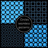 Set of abstract neon circles on black background. Royalty Free Stock Photo