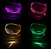 Set of abstract neon speech bubble banners. Royalty Free Stock Images