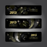 Set of abstract New Year headers. Banners. Golden pattern on the black background stock illustration