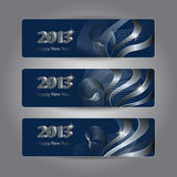 Set of abstract New Year headers Stock Image
