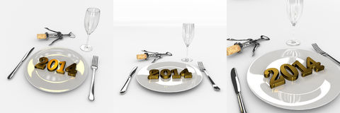 Set Of Abstract New Year 2014 On The Plate - Good Taste. Set Of Humorous Abstract 3D Golden Text 2013 New Year 2014 On The Plate With Fork And Spoon, Glass And Stock Photo