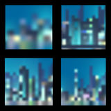 Set of abstract  night city backgrounds Royalty Free Stock Photos