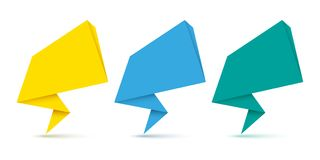Set of origami speech bubbles. Vector illustration. Set of abstract origami speech bubbles. Vector illustration. Paper speech bubbles isolated Royalty Free Stock Photo