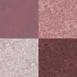 Set of 4 abstract ornamental seamless patterns in marsala color. Stock Image