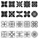 Set of abstract ornamental shapes. Set of twenty vector isolated abstract ornamental shapes, black elements for design on the white background royalty free illustration