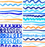 Set of abstract paint patterns with ink lines.  Royalty Free Stock Photos