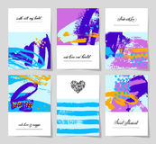 Set of 6 abstract painting background with love hand written let Stock Photography