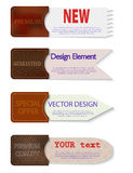 Set of abstract  paper tags with leather pockets. Stock Photography