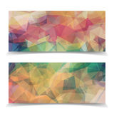 Set of Abstract pastel colored Triangular Polygonal heade Royalty Free Stock Photos