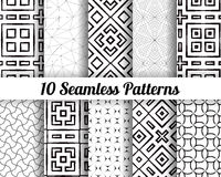 Set of 10 Abstract patterns. Black and white seamless  backgrounds Stock Images