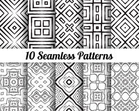 Set of 10 Abstract patterns. Black and white seamless  backgrounds Royalty Free Stock Photo