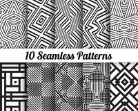 Set of 10 Abstract patterns. Black and white seamless  backgrounds Royalty Free Stock Photos