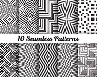 Set of 10 Abstract patterns. Black and white seamless backgrounds stock illustration