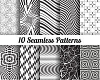Set of 10 Abstract patterns. Black and white seamless  backgrounds Royalty Free Stock Images