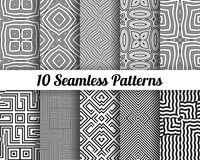 Set of 10 Abstract patterns. Black and white seamless  backgrounds Stock Photos