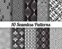 Set of 10 Abstract patterns. Black and white seamless  backgrounds Stock Photography