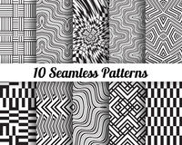 Set of 10 Abstract patterns. Black and white seamless backgrounds vector illustration