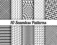Set of 10 Abstract patterns. Black and white seamless  backgrounds Stock Photo