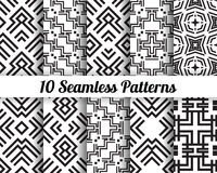 Set of 10 Abstract patterns. Black and white seamless  backgrounds Stock Image
