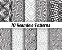 Set of 10 Abstract patterns. Black and white seamless  backgrounds Royalty Free Stock Image