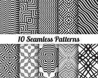 Set of 10 Abstract patterns. Black and white seamless backgrounds royalty free illustration