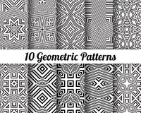 Set of 10 Abstract patterns. Black and white seamless  backgrounds Royalty Free Stock Photography