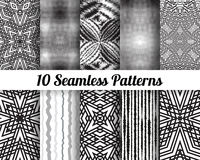 Set of 10 Abstract patterns. Black and white   seamless pattern vector backgrounds Stock Image