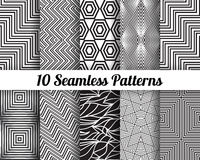 Set of 10 Abstract patterns. Black and white seamless vector backgrounds Royalty Free Stock Photo