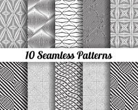 Set of 10 Abstract patterns. Black and white seamless vector backgrounds Stock Illustration