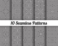Set of 10 Abstract patterns. Black and white seamless vector backgrounds Stock Photos