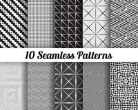 Set of 10 Abstract patterns. Black and white seamless vector backgrounds Stock Photo