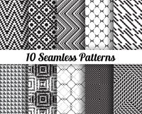 Set of 10 Abstract patterns. Black and white seamless vector backgrounds Stock Images