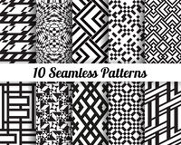 Set of 10 Abstract patterns. Black and white seamless vector backgrounds Royalty Free Stock Images