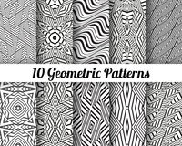 Set of 10 Abstract patterns. Black and white seamless vector backgrounds Stock Photography