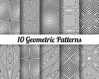 Set of 10 Abstract patterns. Black and white seamless vector backgrounds Royalty Free Stock Image