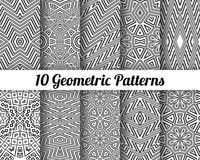 Set of 10 Abstract patterns. Black and white seamless vector backgrounds royalty free illustration