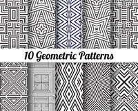 Set of 10 Abstract patterns. Black and white seamless vector backgrounds Stock Image