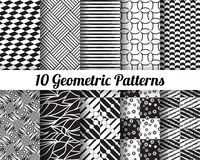 Set of 10 Abstract patterns. Black and white seamless vector backgrounds vector illustration