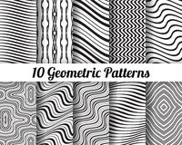 Set of 10 Abstract patterns. Black and white seamless vector backgrounds Royalty Free Stock Photos
