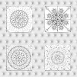 Set of 4 Abstract patterns. Black and white seamless vector backgrounds, textures. Ornament of fine lines. Imitation lace. For wallpaper, packing Stock Photos