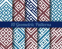Set of 10 Abstract patterns. Color seamless vector. Backgrounds stock illustration
