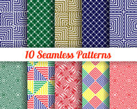 Set of 10 Abstract patterns. Color seamless vector backgrounds Stock Photo