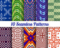 Set of 10 Abstract patterns. Color seamless vector backgrounds Stock Image