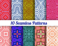 Set of 10 Abstract patterns. Color seamless vector backgrounds Royalty Free Stock Photos