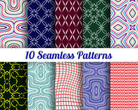 Set of 10 Abstract patterns. Color seamless vector backgrounds Stock Photography