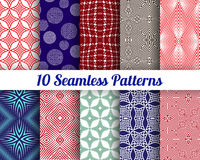 Set of 10 Abstract patterns. Color seamless vector backgrounds Royalty Free Stock Photography