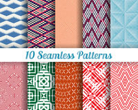 Set of 10 Abstract patterns. Color seamless vector backgrounds stock illustration